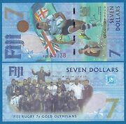 Fiji 7 Dollars P 120 2016 Unc Commemorative Rugby Gold Olympians 2017 Low Ship