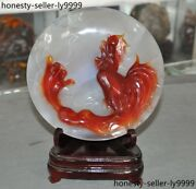 Natural Agate Onyx Auspicious Zodiac Animal Cock Rooster Chicken Statue Plate