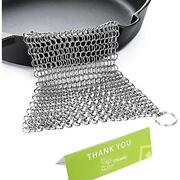 Cast Iron Cleaner Stainless Steel 8x6 Large Chainmail Scrubber Pad Skillet Scrap