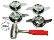 2 Bar Cut Chrome Knock-off Spinners And Red Lead Hammer For Lowrider Wire Wheelm