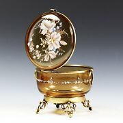 Large Antique Victorian Enamelled Amber Art Glass Trinket Jewelry Box Hinged Lid