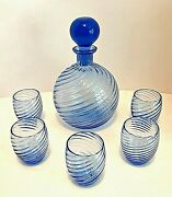 Blue Swirl Glass Decanter With Stopper Five Glasses Hand Blown 8.75 Tall