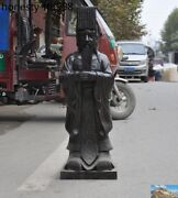 Huge Chinese Bronze Ancient Human Ancestor Xuanyuan Yellow Emperor Stand Statue