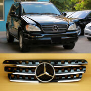 Chrome Gloss Black Front Hood Grille 19982004 For Benz M-class W163 Ml320 Ml350