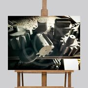 Large Wall Art Canvas Picture Print Vintage Wood Gears Tools 30 X 40 Man Cave