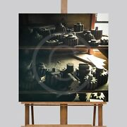 Large Wall Art Canvas Picture Print Vintage Wood Gears Tools 30 X 30 Man Cave
