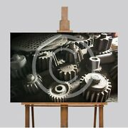 Large Wall Art Canvas Picture Print Vintage Wood Gears Tools 40 X 26 Man Cave