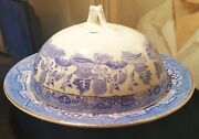 Blue Willow Vtg Japanese Covered Chowder Bowl Butter Cheese Dome Soup Serving