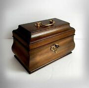 Wooden Tea Caddy Box With Hinged Lid - Key And Lock
