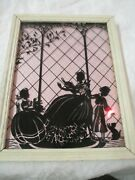 Vintage Silhouette Picture Mother With 2 Children Cat