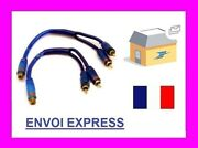 Lot 2 Adapters Y Splitter Rca 1 Female - 2 Males Audio Cable Sono New