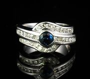 Mayors Birks Signed Natural 2.0ctw Blue Sapphire And Diamond 14k White Gold Ring