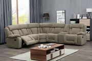 Motion Reclining Casual Modern Living Room Sectional Sofa W Console Tan Color