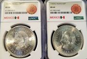 1947 1948 Mexico Silver 5 Pesos Cuauhtemoc Ngc Ms 64 Lot Of 2 Coins Date Set