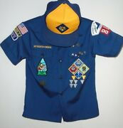 Vintage Boy Scouts Of America Navy Cub Scout Youth Medium Uniform Shirt And Hat