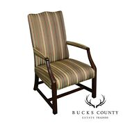 George Iii Style Chippendale Period Antique Mahogany Library Arm Chair