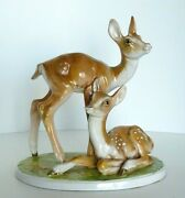 Vintage Deer Fawn Doe Forrest Meadow Porcelain Figurine Signed Made In Italy