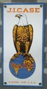 Case J.i. Oil Porcelain Sign Tractor Eagle Home Office Collectible