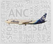 Alaska Airlines Boeing 737 With Airport Codes- Throw Blanket 51 X 60
