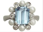 This Impressive Aquamarine And Pearl Ring Has Been Crafted In 18ct White Gold.