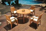 A-grade Teak 5pc Dining 48 Round Butterfly Table 4 Lagos Arm Chair Set Outdoor