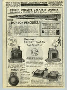 1936 Paper Ad Ronson Touch Tip Cigartable Lighter Ronson Penciliter Cigarette