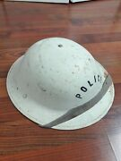 Wwi Ww2 Metal Police Helmet White With Liner Us Army Chin Strap