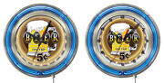 Ncaa - Beer 5 Cents Double Neon Ring Logo Clock College Team Logo