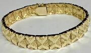 10kt Solid Yellow Gold Handmade Fashion Nugget Bracelet 11 Mm 42 Grams 9