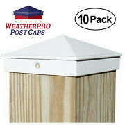 4x4 Fence Post Caps - Deck, Mailbox, Light Post - Aluminum White 10-pack Outdoor