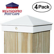 4x4 Fence Post Caps - Deck, Mailbox, Light Post - Aluminum White 4-pack Outdoor