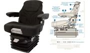 Grammer Msg95/741 Seat With 12v Air Suspension Black And Gray Fabric Seat