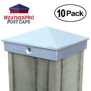 4x4 Fence Post Caps - Deck Mailbox Light - Aluminum Unfinished 10-pack Outdoor