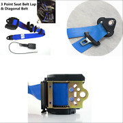 Blue 3 Point Retractable Car Seat Belt Lap Shoulder Adjustable And Warning Cable