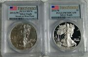 Lot Of 2 1 2014-w 🇺🇸silver Eagle Pcgs Pr70dcam+ms70fs 🇺🇸 Label 1year 2coin