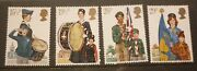 Old Boy Scout Girl Guide Stamp Collection, England Set Of 4 Mint