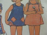 Vtg 70and039s Simplicity 6951 Reversible Dress And Bloomers Sewing Pattern Toddler Girl