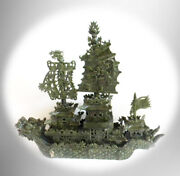 Vintage Chinese Large Green Jade Hand Carved Dragon Boat - 33 Inches