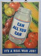 Original Vintage Wwii Poster Can All You Can 1943 Usa Homefront 16 X 22