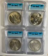 1922, 23, 24, And 1925 Silver Peace Dollar Icg Ms65 S1 Lot Of 4 Total Coins