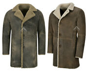 Menand039s 3/4 Warm Genuine Leather Sheepskin Curly Fur Trench Reefer Bane Coat 2k320