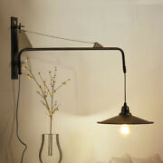 Vintage Long Pole Hanging Wire Wall Lamp Led Black Wall Light With Plug + Switch