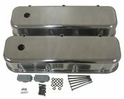 Polished Aluminum Tall Valve Covers Smooth For 65-95 Chevy Bb 396 427 454 502