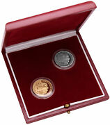 Rare 1986 Robert Schuman 10 F Two Piece 950 Silver And 920 Gold Franc Coin Set