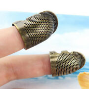 Handworking Vintage Gold Finger Protector Metal Antique Ring Needle Thimble