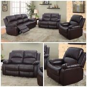 3 Pc Bonded Leather Brown Reclining Sofa Set