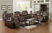 Bonded Leather Two-tone Brown Reclining Sofa Set W/central Console And Drop Table