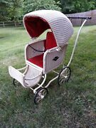 Antique Vintage Victorian Wicker Baby Buggy Carriage Stroller Pram Photographers