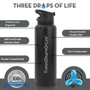 40oz Vacuum Insulated Double Wall Stainless Steel Water Bottle Includes 3 Lids