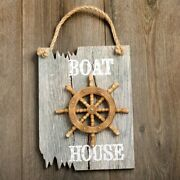 Ships Wheel Plaque - Boat House In White - Driftwood Edge - Beach And Nautical